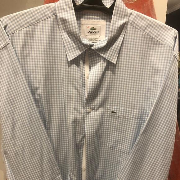 21cc0ede Mens Lacoste Size 45 Button Down Woven Dress Shirt
